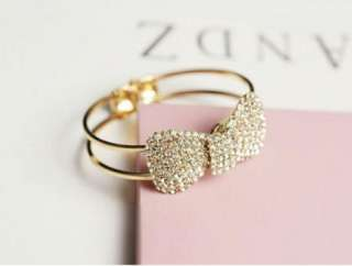New High Quality Jewelry Gold Plated Crystal Bow Bowknot Bracelet