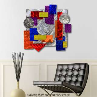 Modern Metal Painted Abstract Pandemonium Wall Sculpture Art Jon Allen