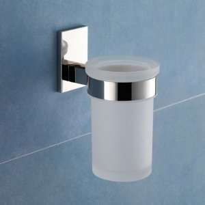 Gedy 7810 13 Wall Mounted Frosted Glass Toothbrush Holder With Chrome