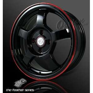 Spoke Racing Wheel Black W/ Red Lip JDM Style Rim 15 Inch 5x114.3
