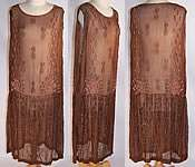 Vintage Brown Silk Chiffon Pink Shell Beaded Drop Waist Flapper Dress
