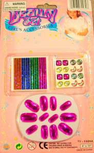 TWO KIDS GIRLS FASHION PRESS ON NAIL SET WITH EARRINGS