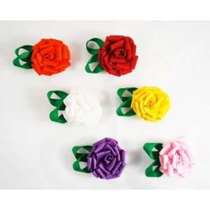 SET of 6 Ribbon Flower Assorted Colors Velcro Baby Hair Clips Baby
