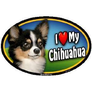 Oval Car Magnet   I Love My Chihuahua, Long Haired (128)