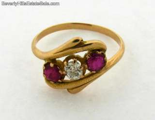 Antique Art Deco 18k Gold Diamond Rubies Ring