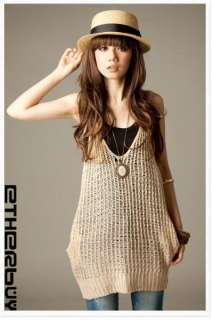 New Womens Girls Korea Casual Gallus Sweater Mini Dress