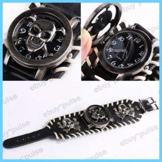 Skull Leather Band Women Men Unisex Bracelet Cool Wrist Watch