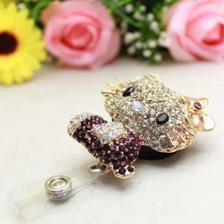 New Hellokitty Bling Rhinestone Lovely Cute Retractable ID/IC Badge