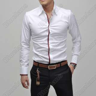 Mens Casual Slim Fit Luxury Stylish Dress Shirts US size XS S M 4