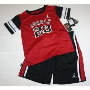 Nike Air Jordan Jumpman23 Boy/Girl Shirt/Shorts Set Size 6 Red/Black