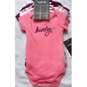 Baby Girls Pink & Purple Hurley Onesie Bodysuit Shirts ~ 5 Pair ~ Size