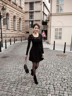 Fashion Attractive Charming Lace Long Sleeve Party Mini dress 7531