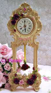 Victorian French Style Shabby Chic Rose Romance Desk Clock   Beige