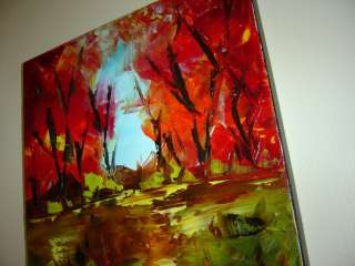 ABSTRACT MODERN CONTEMPORARY OIL PAINTING AUTUMN PASS Eugenia Abramson