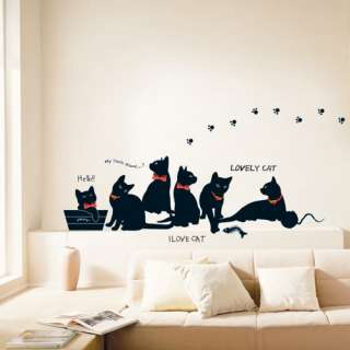 Lovely Black Cats Adhesive WALL STICKER Removable Decal