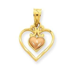 14k Gold Two tone Satin Diamond cut Fancy Double Heart