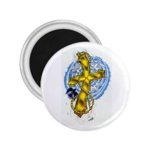 Tattoo Cross Gold Art Fridge Souvenir Magnet 2.25 Free