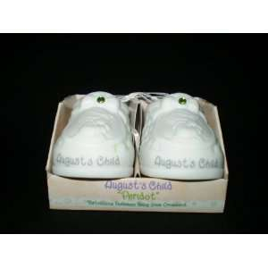 Precious Moments August Porcelain Birthstone Baby Shoes Baby