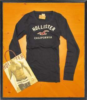 NWT Womens Hollister Navy Blue Soft Cotton Long Sleeve Shirt size