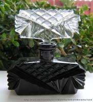Vintage Art Deco Czech Cut Glass Black Perfume Bottle +Top