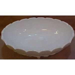 Glass Garland Milk Glass Large Oval Footed Fruit Bowl   12x8x5 Inches