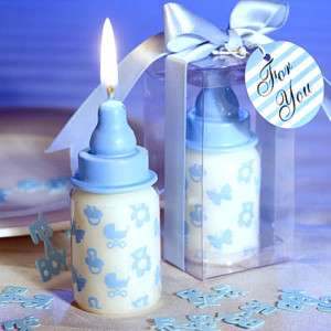 50 Blue Baby Bottle Candle Favors Baby Shower Favor