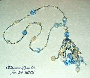 Deco BLUE CZECH ART GLASS BEADED Strand TASSEL FLAPPER Necklace