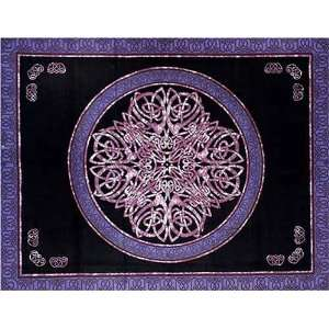 Blue & Black & Purple Celtic Circle Indian Bedspread