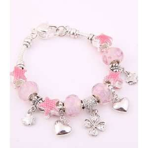 Jewelry Desinger Murano Glass Bead Bracelet with Star Pattern Pink