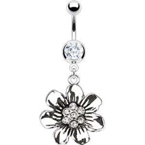 Blooming Gem Flower Belly Ring Jewelry