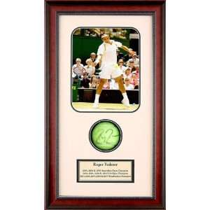 Roger Federer Autographed Tennis Ball Shadowbox