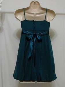 Iz Byer Girls Green Sheer Lined Bubble Dress   Size 7