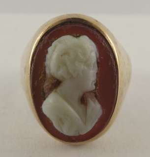 Description Antique 14Kt Solid Yellow Gold Heavy Cameo Ring 14 Karat