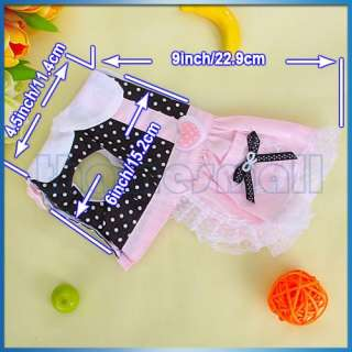 Pet Dog Dress Dot Skirt Clothes Apparel Black & Pink S