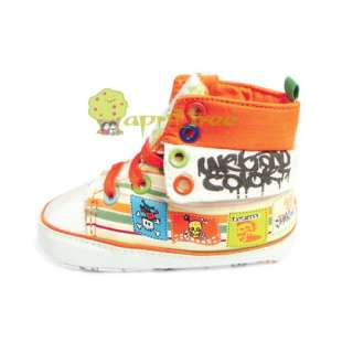 New Orange Toddler Baby Boy Girl shoes Trainer Prewalker (E57)size 6