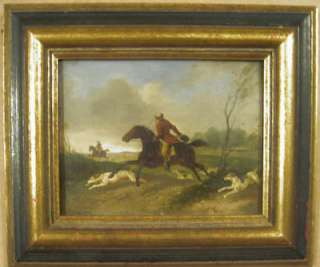 Antique Oil Painting British Sporting Art Fox Hunt Hounds Miniature