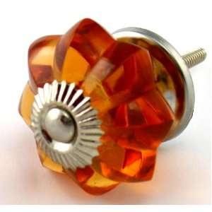 Old Amber Glass Cabinet Knobs 6 pc Cupboard Drawer Pulls