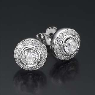 14k white gold round diamond earrings stud side stones