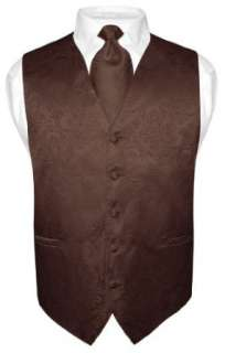 Mens Brown Paisley Design Dress Vest and NeckTie Set for