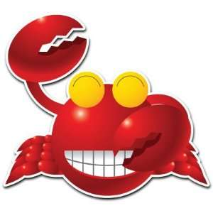 Crab Smile Smiley Face Cartoon Car Bumper Sticker Decal 4