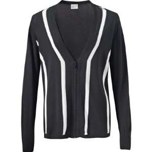 Womens Long Sleeve Full Zip Sweater( COLOR Black/White, WOMENS