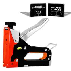 Way Heavy Duty Stapler Staple Gun Upholstery Wood Ceiling tiles