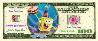 SPONGEBOB SQUAREPANTS Personalized Kids Birthday Bill