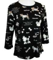 Jess & Jane Cotton Print Rhinestone Top   Dog Town SM