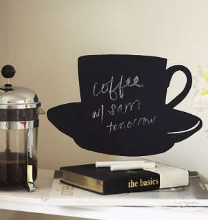 Cup n Saucer Coffee Tea Chalkboard Chalk Board Wall Sticker Decal