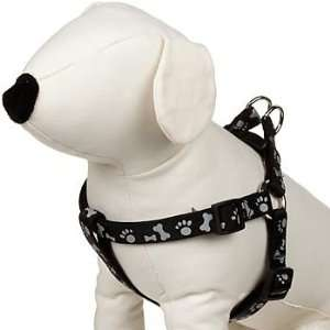 Easy Step In Black Paw Print Reflective Dog Harness