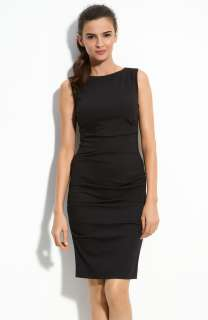 NEW NICOLE MILLER Pleated Ponte Knit Sheath DRESS Size LARGE 12 $275