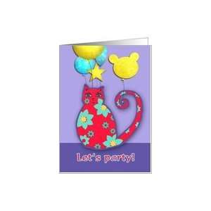 childrens party invitation, cool cat, balloons Card Toys
