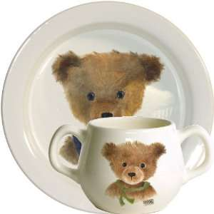 Gien Bears Gift Set, Baby Plate And Two Handled Mug (Boy