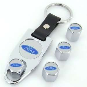 Ford Blue Logo Chrome Tire Valve Caps + Wrench Keychain Automotive
